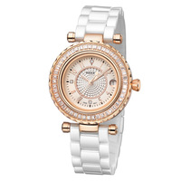 Ceramic quartz fashion luxury watch for women, rosegold wrist watch, waterproof watch, free shipping watch