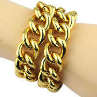 New US fashion Shiny LIGHT GOLD Plated Chunky Aluminum Necklace Curb Chain bracelet 16''