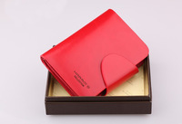 Promotion &Free shipping,Ladies Genuine Leather Wallet,women leather purse, top quality, fashion Red wallet,Hasp, H027-2