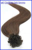 "18"" 20"" 22"" Keratin Virgin Remy Hair U Stick U Tip Human Hair Extensions Straight 100s/set Color #8 Medium Ash Brown 2set/lot"