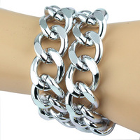 "European Shiny Cut LIGHT Silver Plated Chunky Aluminum Curb Chain bracelet 16"" Platinum"