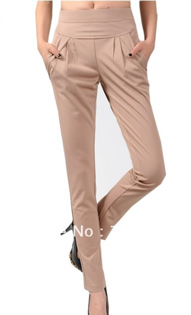 Khaki 2013-08 spring shall ladies harem pants Korean trousers casual pants feet were thin elastic waist big yards(China (Mainland))