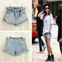 New Fashion 2014 Light Blue High Waist Women Shorts/Brand Flange Hole Jeans Denim Shorts Women/Vintage Jeans Women Clothing