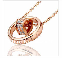 wholesale 20pcs/lot Free shipping rose gold Heart  Necklace Crystal Pendant for Women Elegant Rhinestone Jewelry Wholesale