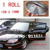 Wholesale 1 roll/set 10mm*15M/roll DECORATION CHROME SILVER MOULDING TRIM CAR BUMPER PROTECTOR STRIP with 3M stick