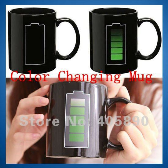 Battery Color Changing Mug with Energy Saving Icon Heat Sensitive Temperature Coffee Tea Cup Novelty Gift(China (Mainland))