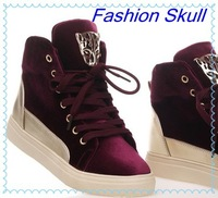 2013 casual sneakers Platforms high-top shoes fashion skull women's skateboarding shoes gold