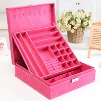 Flannelet princess jewelry cosmetic box double layer 33546 jewelry storage box
