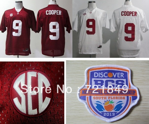 5-9Days Free shipping new NCAA Crimson Tide #9 Amari Cooper 2013 BCS National Championship Patch Red White Jersey mix order(China (Mainland))