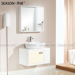 Whole Price Modern Wall Mounted Bathroom Vanity/Cabinet For Family/Hotel Ceramic And Wood Material With Mirror SEASON CAB0003(China (Mainland))