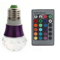 New 3W E27 RGB Magic Change Crystal LED Light Bulb Lamp 85-265V+IR Remote Control 80836