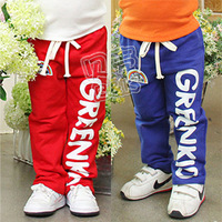 2013 spring letter boys clothing girls clothing baby child long trousers casual pants kz-1149