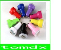 50pcs/lot New Dual 2 Port USB Car Charger 12v DC for iPad iPhone 5 4G 4 3G 3S iPod 2.1A HTC + Free ship