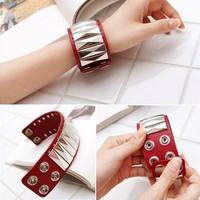 2118 PU rivet punk rivet snap button leather bracelet