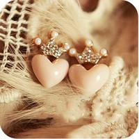 0450 rhinestone love peach heart small all-match stud earring
