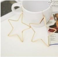 0395 brief five-pointed star fashion large hoop earrings earring