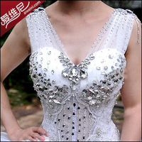 Rhinestone wedding dress luxury spaghetti strap V-neck princess double-shoulder long trailing wedding dress new arrival 2013