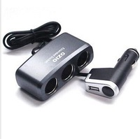 Free shipping 3 Way USB car charger adapter Cigarette Lighter Socket Splitter 12V With  LED light Control