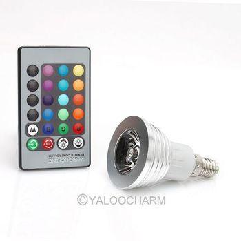 16 Color Changing E14 3W RGB LED Light Bulb Lamp 85V~265V + IR Remote Control 80843