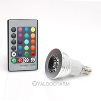 16 Color Changing E14 3W RGB LED Light Bulb Lamp 85V~265V + IR Remote Control 80843