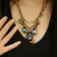 E1224 vintage high quality baroque big gem jewelry necklace female necklace