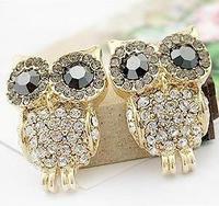 0215 accessories delicate full rhinestone owl stud earring