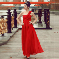 Romantic flower formal dress the bride wedding dress formal dress red long design evening dress costume evening dress