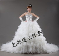 2012 Bandage Tube Top Wedding Dress Winter Princess Big Train Wedding Dress Crystal