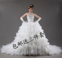 2012 Bandage Tube Top Wedding Dress Winter Princess Big Train Wedding Dress Crystal