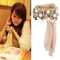 2087 Women miss selfridge chiffon leopard print crystal pearl metal knitted bracelet