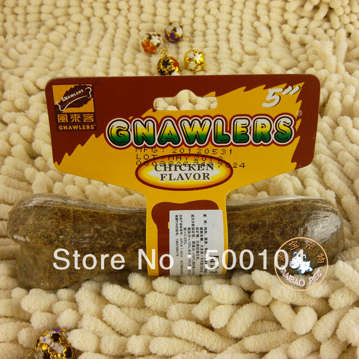 Free shipping pet snacks 5 inch chicken taste clean tooth nutrition dog bite grinding bone glue(China (Mainland))