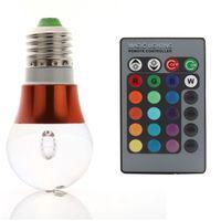 3W E27 RGB Change Magic LED Light Bulb Lamp 85-265V+IR Remote Control Permanent Sync 80838