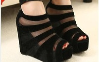 . open toe shoe 2013 wedges female sandals a fashion patchwork platform s gauze lace trade .B453