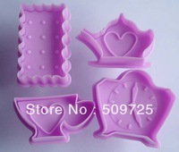 New 4pcs/set Cookie Cutter Plunger Cutter Pie Crust Mold Biscuit Tea Time Set