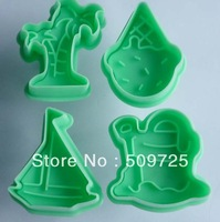 New 4pcs/set Cookie Cutter Plunger Cutter Pie Crust Mold Biscuit Sea Scenery Set