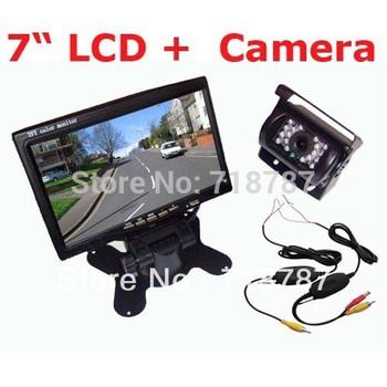 "7"" LCD Monitor Car Rear View Kit + Wireless 18 IR LED IR Reversing Camera waterproof Free Shipping"