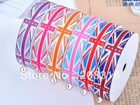 2013 UK flag 6 color  3/8&quot;,5/8&quot;, 1&quot;,1-1/2&quot; 100yards Hair Bow DIY grosgrain ribbons,stitched ribbon