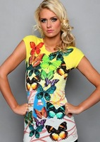 2013 New arrival cotton slim butterfly print short sleeve tops for women S, M, L, XL Wholesale price