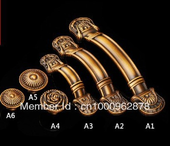 European style kitch door wardrobe cabinet drawer hareware zinc alloy bronze knob single hole/64mm/96mm/128mm