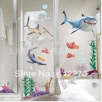 5SETS Cartoons adhesive shark Wall Stickers 50*70CM Free Shipping Removable Wall Decor 003001 (12)