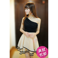 Free Shipping 1Pcs/Lot Summer 2013 Sexy Oblique One-Piece Princess Dress Women Party With Slik Chiffon Fabric Dresses