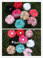 "70pcs/lot 2.5""Chiffon Shabby Flowers with pearl(Rhinestone)  Vintage Chiffon Shabby Look Flowers free shipping"