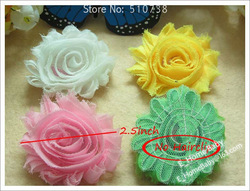 12 Color Shabby chiffon Flower for headbands Baby Girl's Hair Flower for Hairclip Hair Bows 120pcs(China (Mainland))