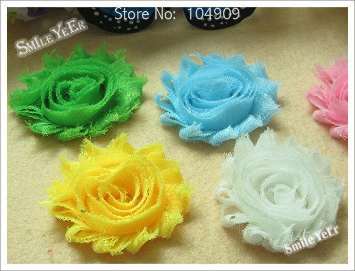 24pcs 12 Color Baby Shabby Chiffon Flower Cute Kid's Hair Accessories No Hair Bows Hair Headband(China (Mainland))