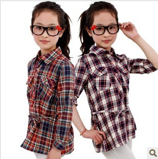 Girl clothing long plaid long-sleeved shirt spring kids 100% cotton shirt free shipping(China (Mainland))