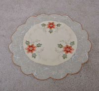Embroidery handmade flowers Placemats/table mat/Doilies,38cm Round Free Shipping