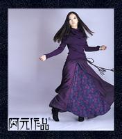 New Style Long Skirt Autumn and Winter Basic Bohemian Pleated Skirt Q13 Akkadian