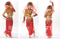 Children Indian dance costumes, girls dance clothes, folk dance, Tianzhu girl belly dance performance clothing  Free Shipping