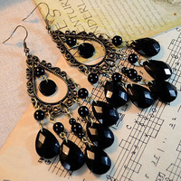 Free Shipping! Min. Order 10USD(Can Mixed Order)    Fashion Vintage Bohemian Black Drop Earrings