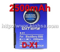 2500mAh D-X1 / D X1 High Capacity Battery Use for Blackberry 8900/8910/9500/9520/9530/9550/9630/9650 etc Mobile Phones